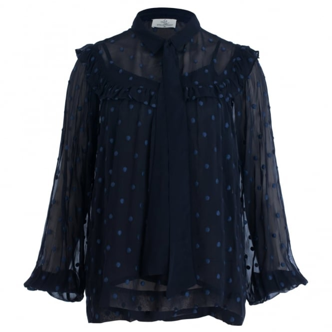 STELLA FOREST Embroided Spot Blouse With Frill Detail in Dark Navy