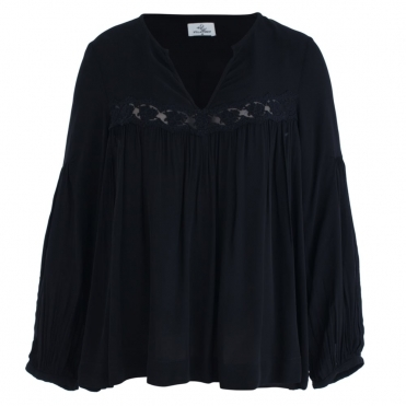 Embroided Viscose Balloon Sleeve Blouse In Black