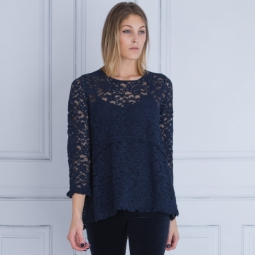 Stella Forest Lace Tunic With Long Sleeve in French Navy