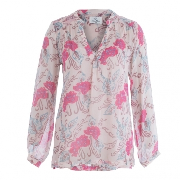 Silk Chiffon Floral Print Blouse In Pink