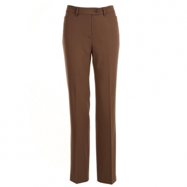 Straight Leg Stretch Trousers in Taupe