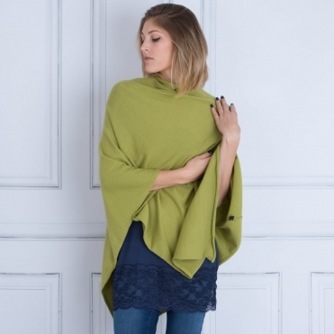 Tilley & Grace Knitted Poncho in Chartreuse