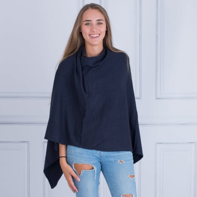 TILLEY & GRACE Knitted Poncho in Navy