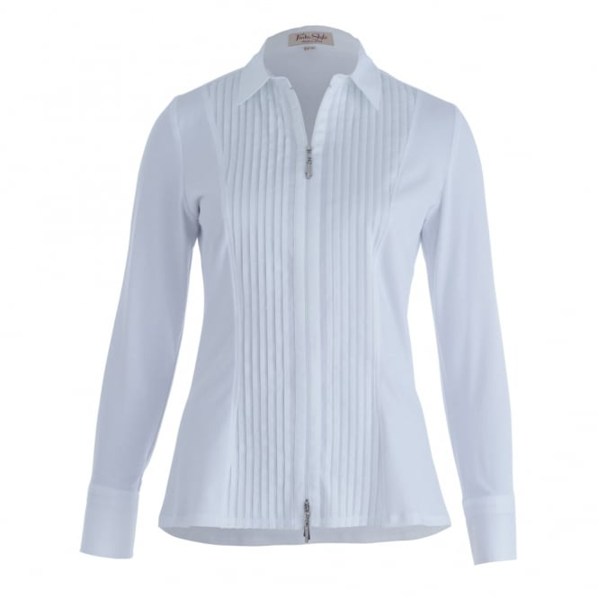 TINTA DIFUSION Double Pleat Trim Front Button Shirt In White