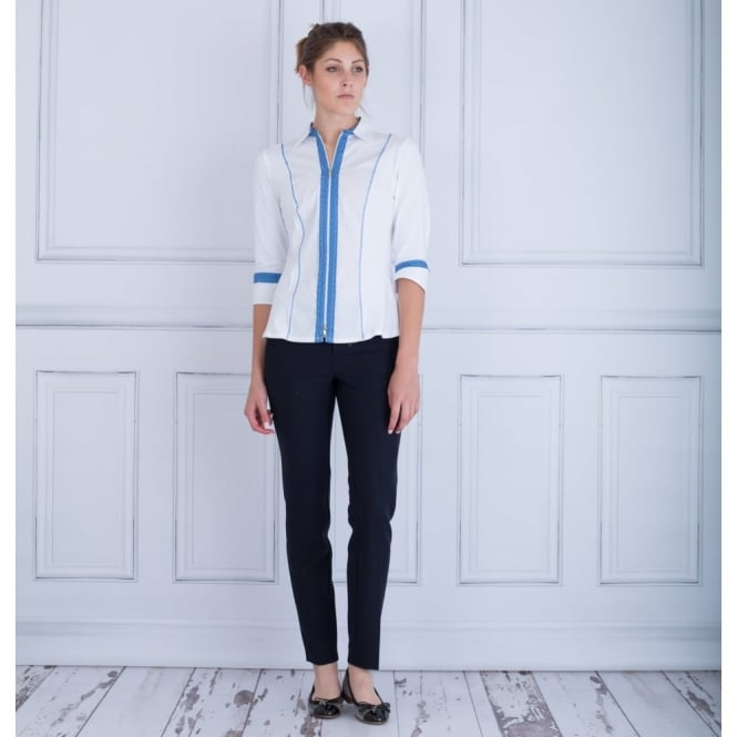 TINTA DIFUSION Zip Front Shirt With Blue Trim In White