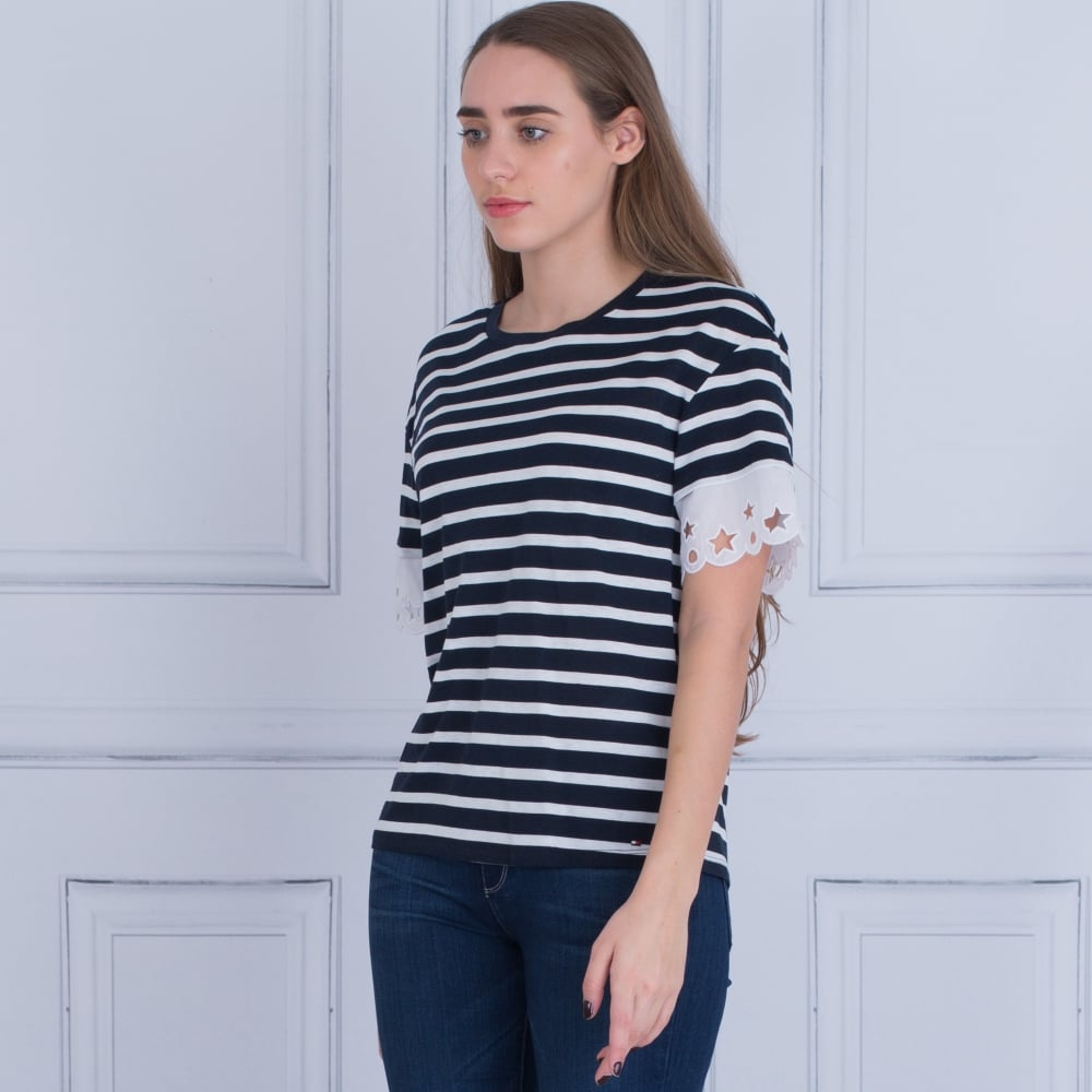 97bd100b Tommy Hilfiger 21803902 Abner Stripe T-shirt With Star Lace Sleeves ...