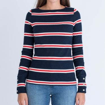 69ad7cb8c38570 Tommy Hilfiger Boat Neck Stripe Sweater Navy red white