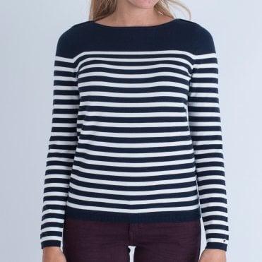 Tommy Hilfiger Boat Neck Stripe Sweater Navy white e6235c4e7