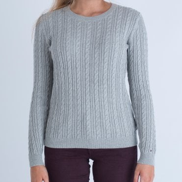 Tommy Hilfiger Cable Round Neck Sweater Grey 887e2a06e
