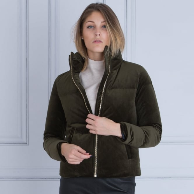 TOMMY HILFIGER Candy Velvet Down Puffa Jacket in Dark Khaki