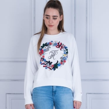 Tommy Hilfiger Celsa Graphic Floral Sweatshirt White
