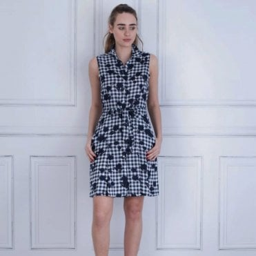 Tommy Hilfiger Hillary Gingham Floral Sleeveless Belted Dress