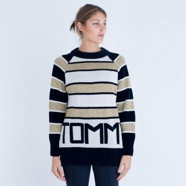 Tommy Hilfiger Icon Tamarah Chenile Stripe Jumper With Logo White black gold 9c9d72328
