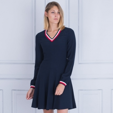 Tommy Hilfiger Josie Fit And Flare Dress Navy 1049b7b96