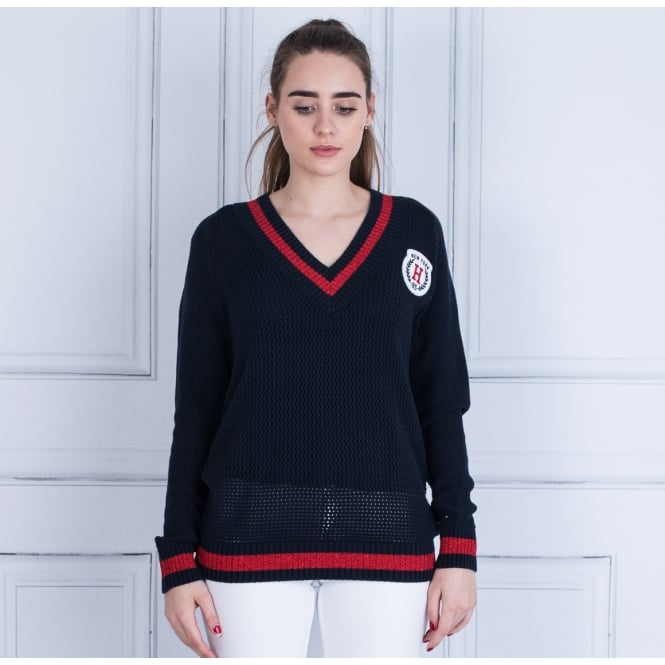 TOMMY HILFIGER Pallas Varsity V-neck Knitted Jumper Navy