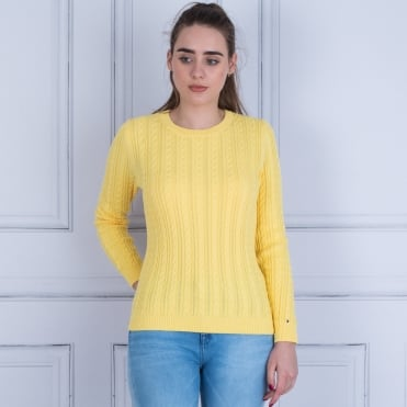Tommy Hilfiger Pascalino Cable Knit Jumper Yellow