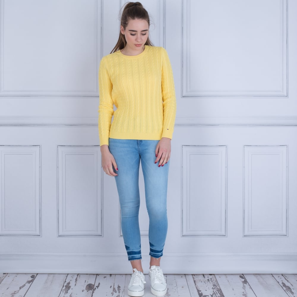 471d3b52e Tommy Hilfiger Pascalino Cable Knit Jumper Yellow