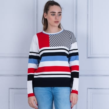 Tommy Hilfiger Pilaux Stripe Jumper White/navy