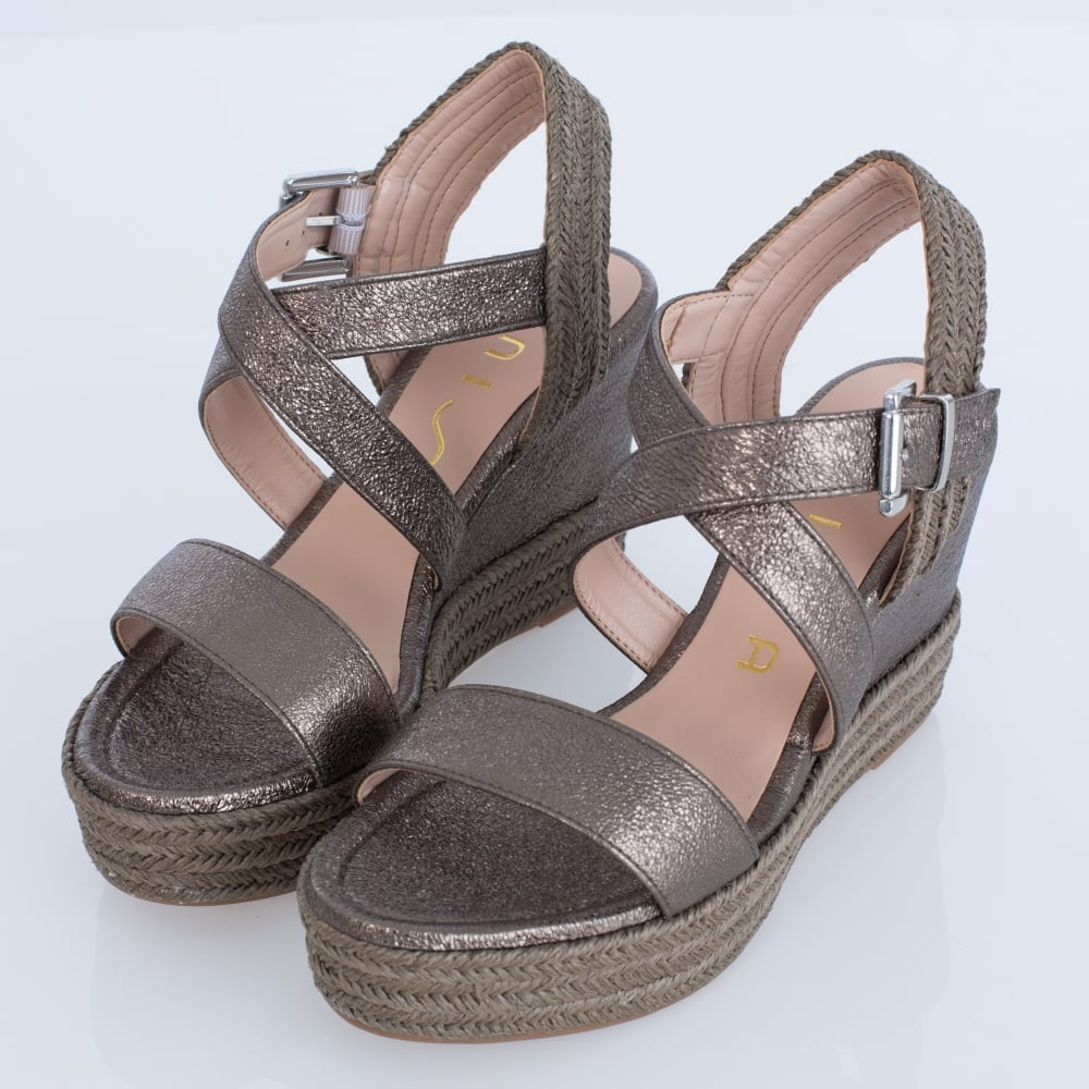 Unisa Lusas Se Metallic Cross Strap Wedge In Khaki Inside Heels Karen Khaky 37