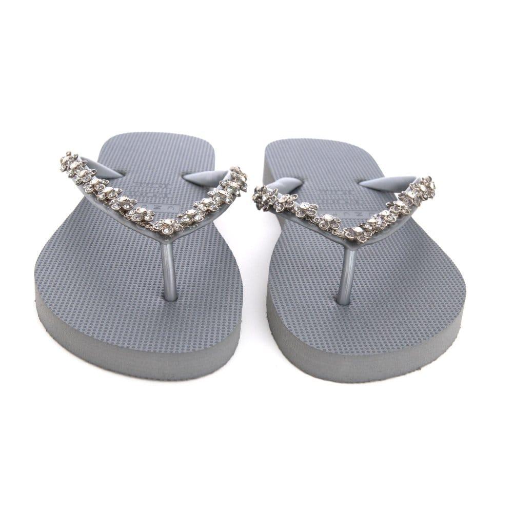 8fa3f2a8f Uzurii Crystal Detail Flat Flipflops in Silver Grey