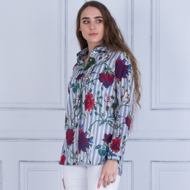 Dover Floral Stripe Shirt In Blue/White/Red