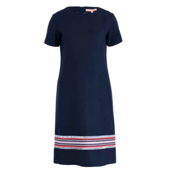 VILAGALLO Velucrecia Wool Short Sleeve Dress With Silver & Orange Embroidery In Navy