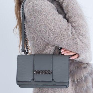 8d4258978da5 Vimoda Chain Trim Leather Bag Grey