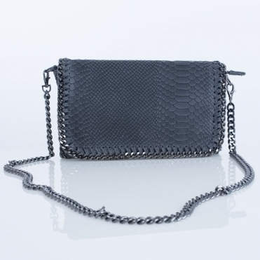 Large Croc Leather Chain Bag In Grey