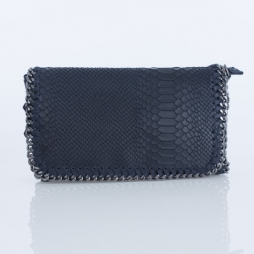 Large Croc Leather Chain Bag In Navy