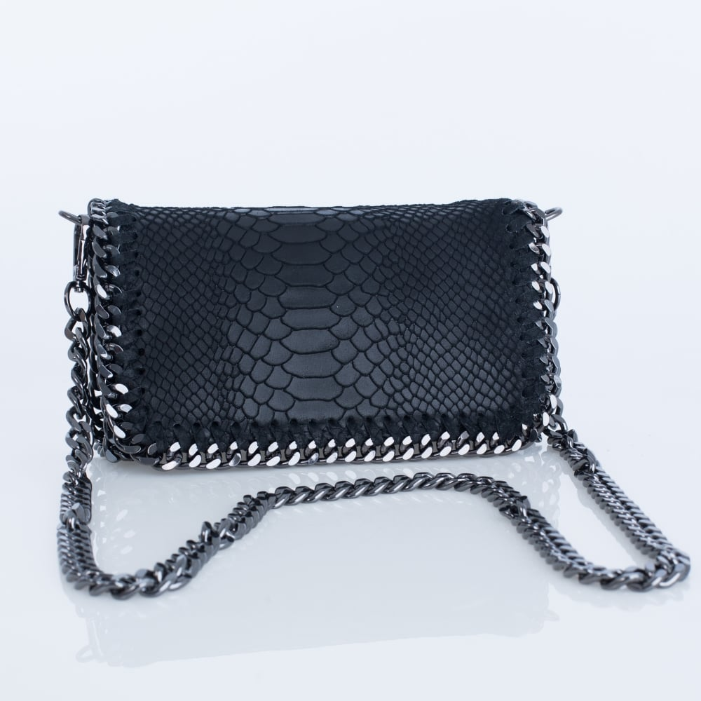 24369bbe744fd Vimoda BAG3377 Small Croc Leather Chain Bag In Black