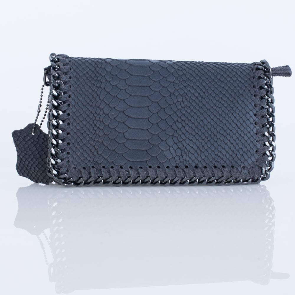 3a4558d934932 Vimoda BAG3377 Small Croc Leather Chain Bag In Grey