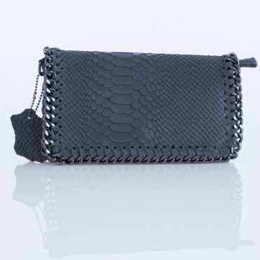 Small Croc Leather Chain Bag In Grey