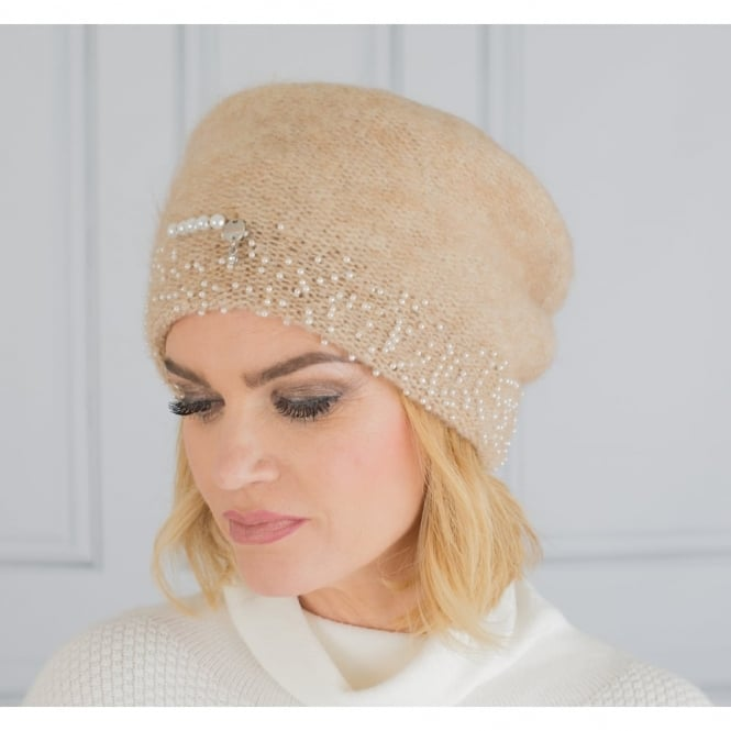 VIZIO Mohair Sloucy Hat With Small Beads In Beige