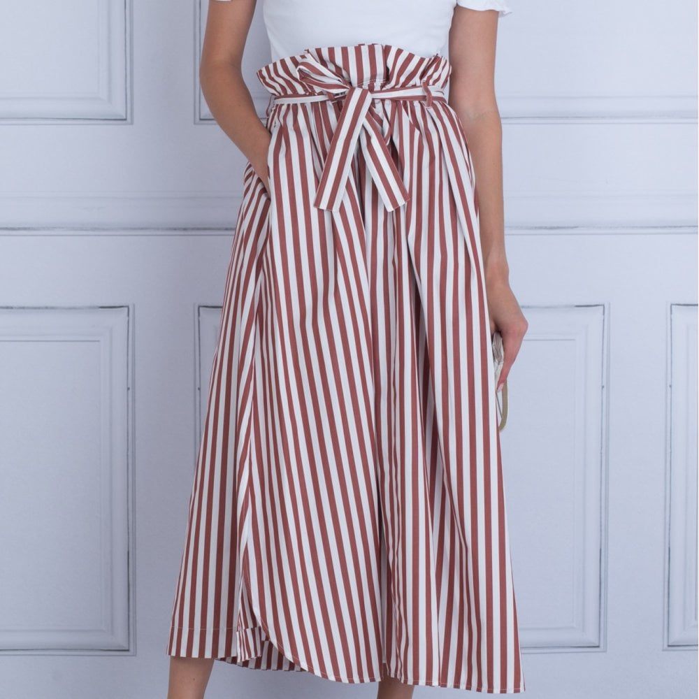 59ca6cdc03 Weekend By Maxmara Olivi Long Stripe Belted Skirt Brown Off White