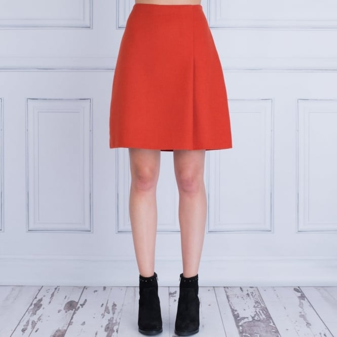 WEEKEND BY MAXMARA Palanca A Symetrical Pleat Skirt in Brick Red