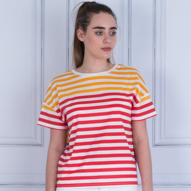 WEEKEND BY MAXMARA Ustica Stripe And Floral T Shirt Magenta/yellow