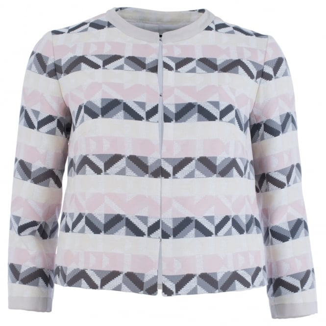 WEEKEND BY MAXMARA Vagare Geometric Stripe Jacket In Pink, Yelliow & Grey