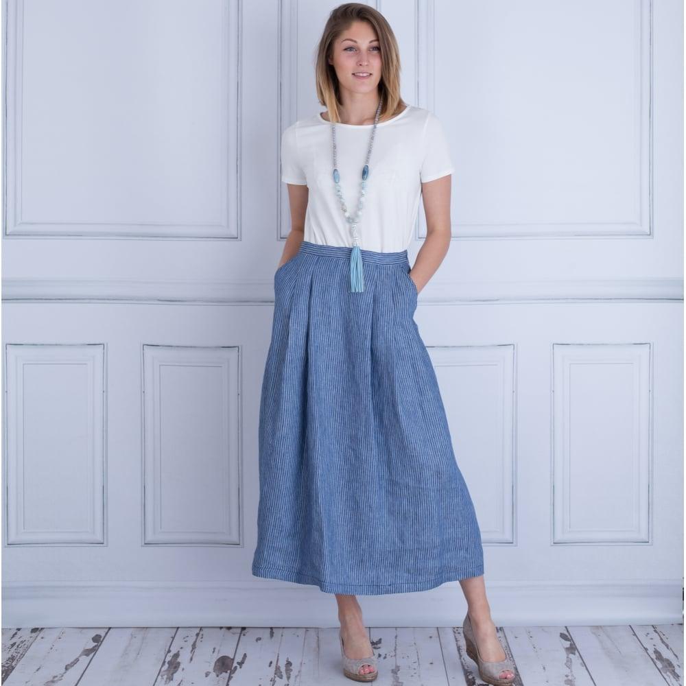 Weekend by MaxMara Vallet Long Linen Pinstripe Skirt In Denim Blue d1908fd9ec26