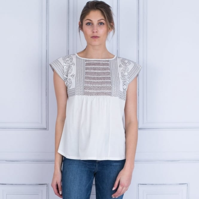WEEKEND BY MAXMARA Vorra Tan Embroidered T Shirt In White