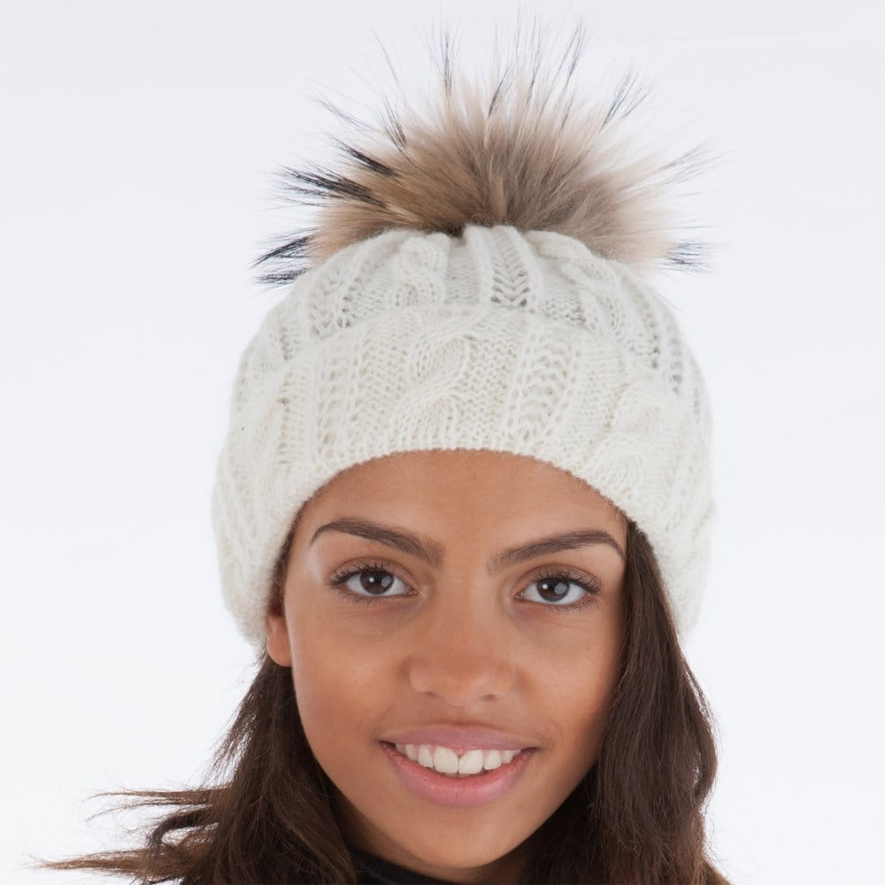 fb8d7304f27 Whiteley Fischer Cable Knit Faux Fur Pompom Hat in Cream
