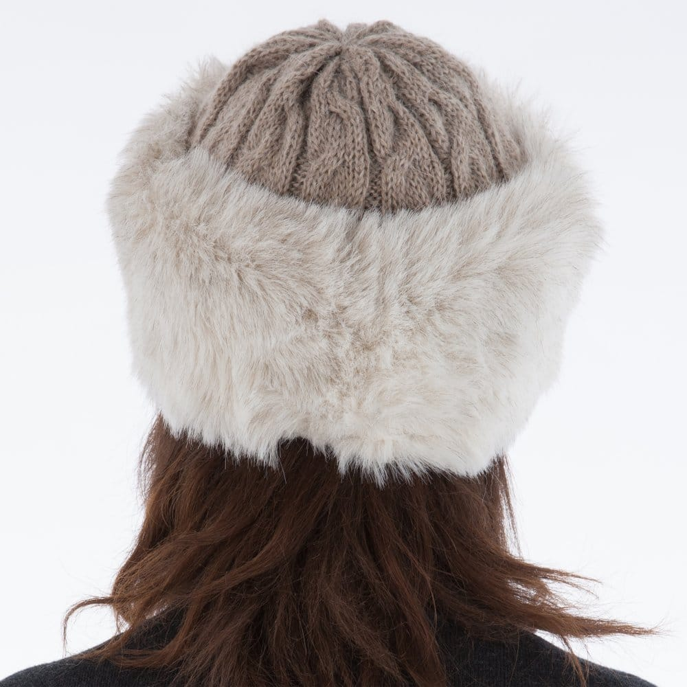 Whiteley Fischer Cable Knit Hat with Faux Fur Trim in Beige 47827d2e795
