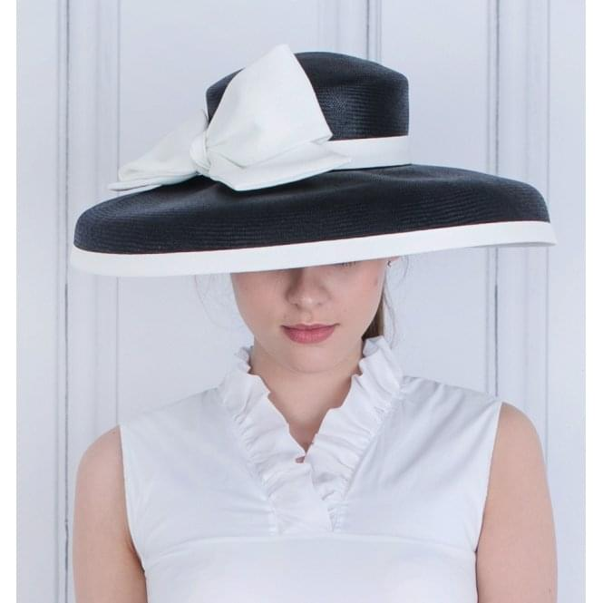 WHITELEY FISCHER Large Lampshade Hat With Contrast Bow Black/white