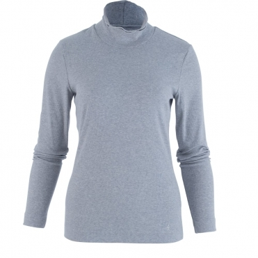 Double Roll Neck Cotton Rib Top In Grey