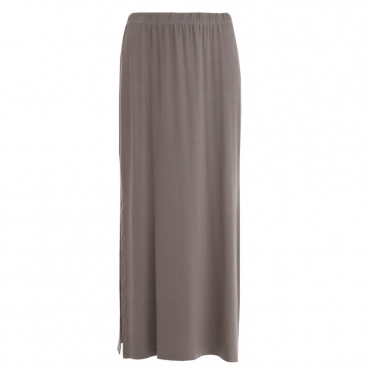 Maxi Side Split Jersey Skirt in Taupe